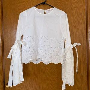 Zara White Cropped Blouse